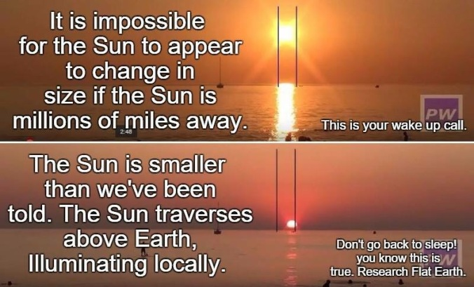 Image result for sun perspective flat earth